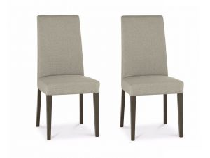 Bentley Designs Miles Walnut Taper Back Silver Grey Fabric Chairs (Pair)
