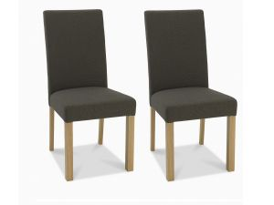 Bentley Designs Parker Light Oak Black Gold Fabric Square Back Chairs (Pair)