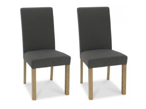 Bentley Designs Parker Light Oak Cold Steel Fabric Square Back Chairs (Pair)