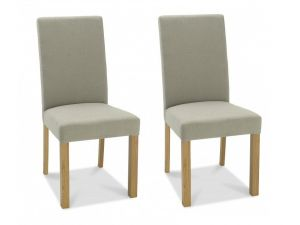 Bentley Designs Parker Light Oak Silver Grey Fabric Square Back Chairs (Pair)