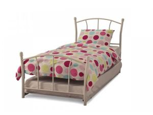 Serene Penny 3ft Single White Gloss Metal Guest Bed