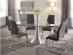 Serene Cadiz 180cm Oval Clear Glass Dining Table With Aluminium Legs