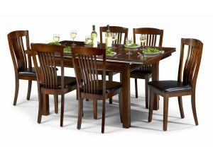 Julian Bowen Canterbury Mahogany Dining Set Table + 4 Slatted Chairs