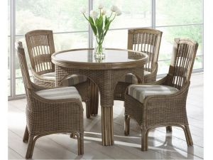 Cane Monza Round Dining Set with 4 Chairs