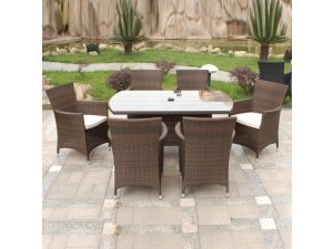 Royalcraft Cannes Brown Rectangle 6 Seater Rattan Garden Furniture Set
