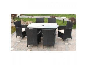 Royalcraft Cannes Black Rattan 6 Seater Rectangular Dining Set