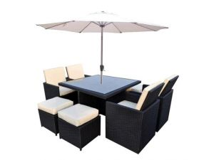 Cannes 4/8 Seater Black Rattan Cube Set With 4 Footstools and Parasol