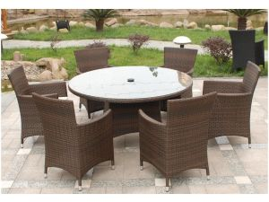 Royalcraft Cannes Brown Round 6 Seater Rattan Garden Furniture Set