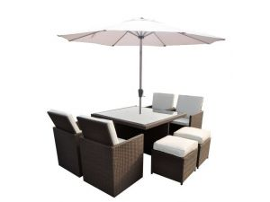 Cannes 4/8 Seater Brown Rattan Cube Set With 4 Footstools and Parasol