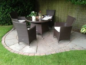 Royalcraft Cannes Brown Rattan 4 Seat Round Garden Set with Cushions