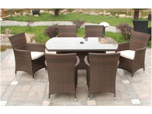 Royalcraft Cannes Brown Rattan 6 Seat Rectangular Garden Set with Cushions