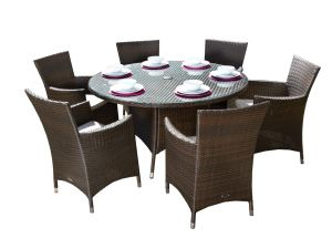 Royalcraft Cannes Brown Rattan 6 Seat Round Garden Set with Cushions