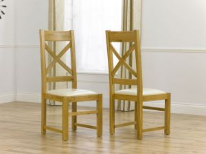 Canterbury Solid Oak Dining Chairs With Cream Leather Seat - Pair
