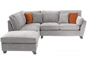 Cantrell Silver Fabric LHF Corner Sofa Group With Scattter Cushions