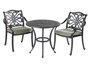 Hartman Capri 2 Seater Cast Aluminium Bistro Set with Wheatgrass Cushions