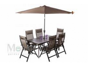 Royalcraft Florence Spraystone 6 Seat Recliner Garden Set with Headrests and Parasol