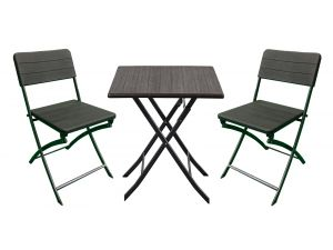 Royalcraft Carini Wood Effect Table with 2 Folding Chairs