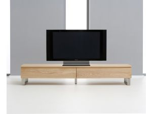 Cardinal Oak TV Unit With Brushed Steel Legs