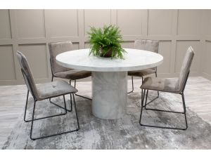 Carra 130cm White Marble Dining Table + Soren Chairs