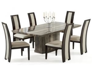 Como 200cm Brown Constituted Marble Dining Table with Brown Valencie Chairs