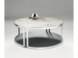 Chelsom Riva Round Carrara Marble Stainless Steel Coffee Table