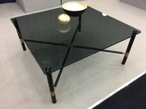 Chelsom Columbia Black Glass Square Coffee Table