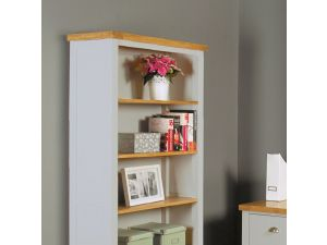 Chadwick Grey Painted Large Bookcase With Two Drawers