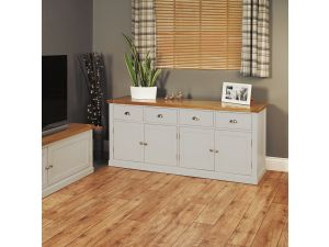 Chadwick Grey Painted Large Sideboard With Four Drawers & Doors