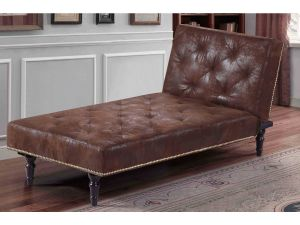 Chigwell Brown Leather Chaise Longue & Bed