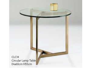 Chelsom Angle Circular Glass Lamp Table