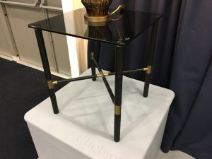 Chelsom Columbia Black Glass Square Lamp Table