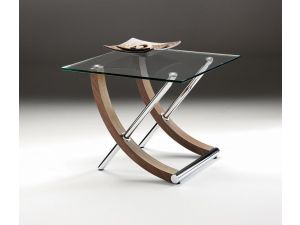 Chelsom Tusk Square Walnut and Glass Lamp Table