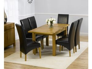 Rustique 120cm Solid Oak Extending Dining Table + 6 Roma Leather Chairs