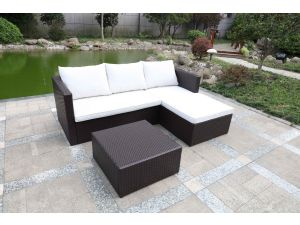Royalcraft Cannes Brown Rattan K/D Corner Sofa Set with Coffee Table