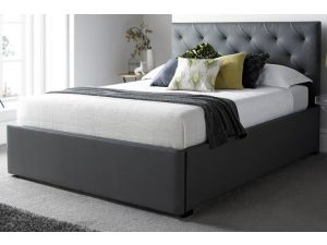 Kaydian Corbridge 5ft Kingsize Grey Leather Drawer Storage Bed