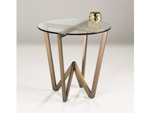 Chelsom Angle Circular Glass Side Table