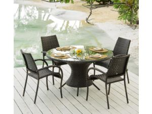 Alexander Rose Ocean Wave Table With 4 Ocean Fiji Stacking Armchairs
