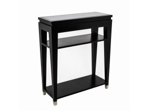 RV Astley Modena Black Glass Console Table
