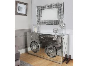 Crystal Mirrored 4 Door Sideboard & Rect Mirror