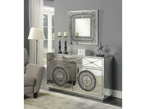 Crystal Mirrored 4 Door Sideboard & Sq Mirror