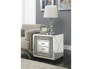 Crystal Mirrored 2 Drawer End Table