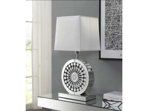 Crystal Mirrored Table Lamp With White Shade