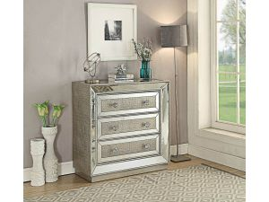 Sofia Silver Mirrored 3 Drawer Chest
