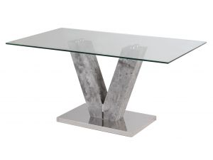 Fairmont Dolce 160cm Glass and Grey Stone Look Dining Table