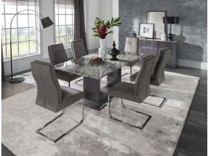Donatella 160cm Grey Marble Dining Table + 6 Chairs