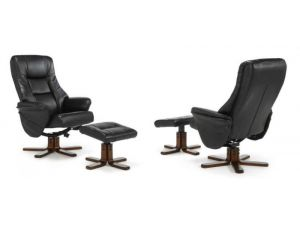 Serene Drammen Black Leather Swivel Massage Chair