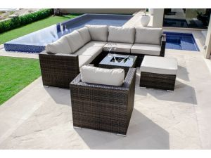 Maze London Brown Rattan Chair Corner Sofa Group With Ice Bucket