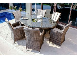 Maze LA Brown 6 Seater Oval Dining Set With Ice Bucket