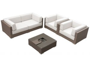 Maze Monaco Brown Rattan Sofa Set With Ice Bucket