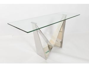 Fairmont Florentina Glass and Stainless Steel Console Table
